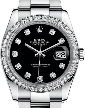 Rolex Datejust 36 116244 Black set with diamonds Oyster Bracelet