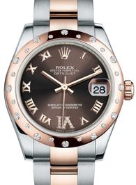178341 Chocolate set with diamonds Rolex часы Everose Rolesor Domed 24 Diamonds Oyster