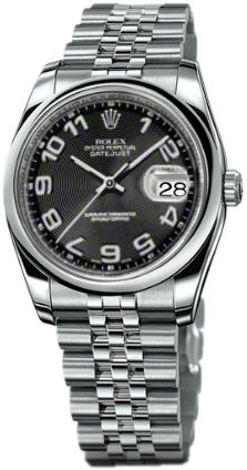 Rolex Datejust 36 116200 black concentric circle dial Jubilee