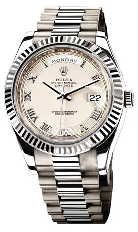 218239 ivory concentric circle dial Rolex Day-Date II Archive