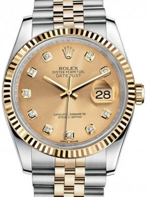 Rolex Datejust 36 116233 champagne diamond dial jubilee
