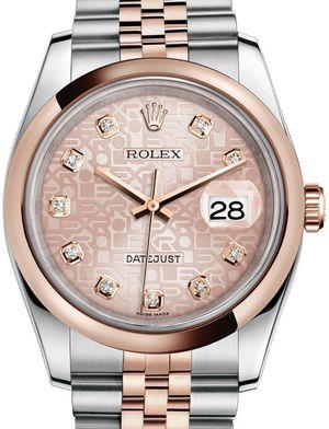 Rolex Datejust 36 116201 Pink Jubilee design set with diamonds