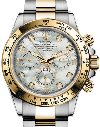 116503 White mother-of-pearl set with diamonds Rolex часы Steel and yellow gold