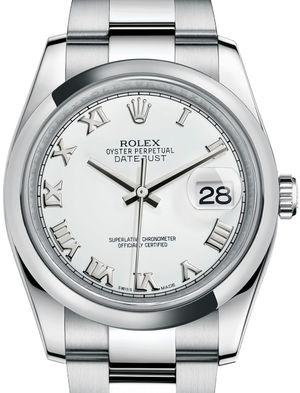 116200 White Roman Oyster Bracelet Rolex Datejust 36