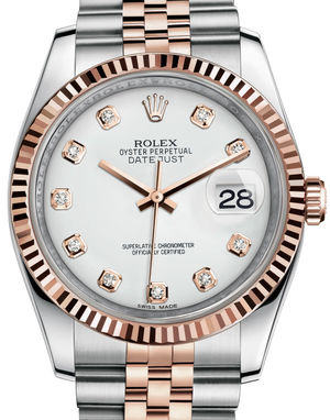 116231 white set with diamonds dial Rolex Datejust 36