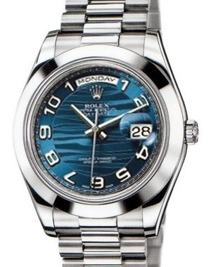 Rolex Day-Date II Archive 218206  blue wave dial