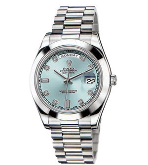 Rolex Day-Date II Archive 218206 ice blue diamond dial
