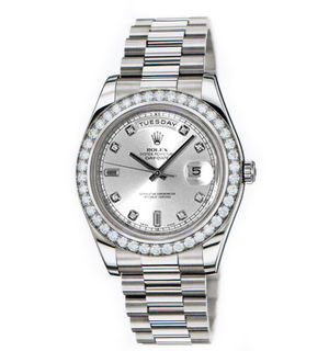 Rolex Day-Date II Archive 218349 silver diamond dial