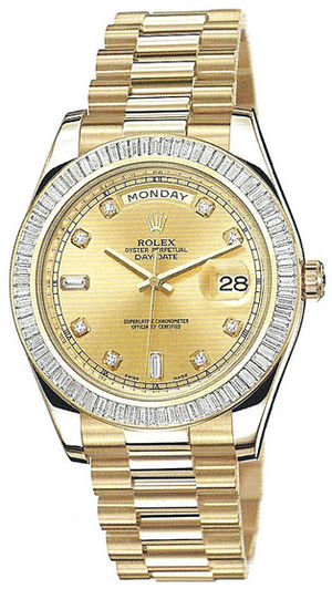Rolex Day-Date II Archive 218398  champagne diamond dial