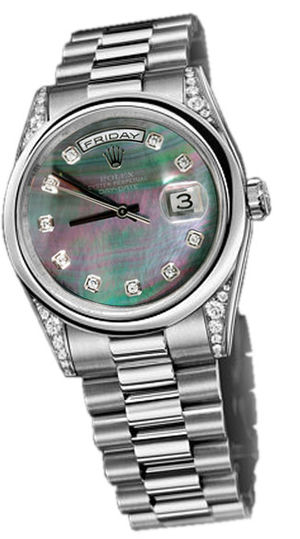 118296  dark mother of pearl dial Rolex Day-Date 36