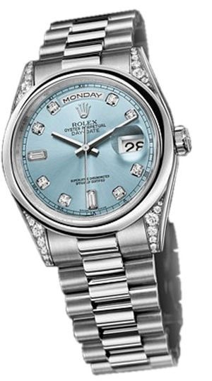 118296  glacier blue dial Rolex Day-Date 36
