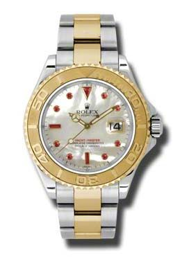 Rolex Yacht-Master 16623 mother of pearl dial ruby