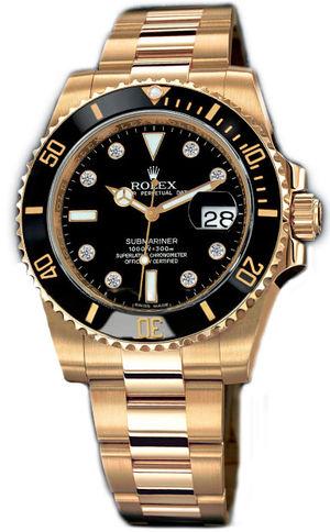 Rolex Submariner 116618 black dial 8 diamond