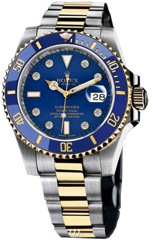 Rolex Submariner 116613 blue dial 8 diamond
