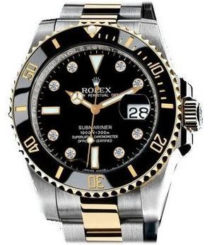 Rolex Submariner 116613 black dial 8 diamond