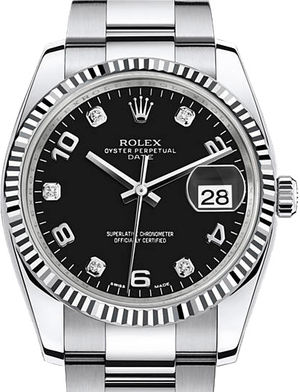 Rolex Oyster Perpetual 115234 black dial five diamond