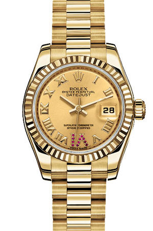 Rolex Lady-Datejust 26 179178  champagne dial roman numerals rubies