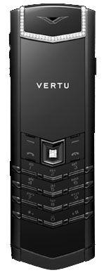 Black PVD Diamond Trim Black Leather Vertu Signature