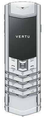 Polished Stainless Steel White Saphire White Leath Vertu Signature