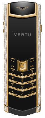 Yellow Gold Full Pave Diamond Bezel Black Ceramic  Vertu Signature
