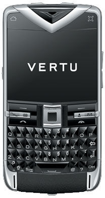 Vertu Constellation Quest Polished Stainless Steel Sapphire Keys Black Leath