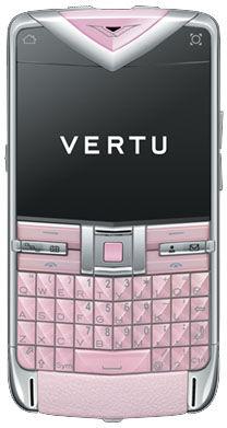 Vertu Constellation Quest Polished Stainless Steel Sapphire Keys Pink Leathe