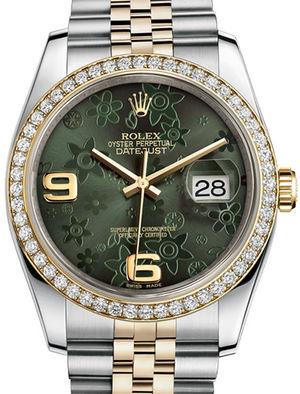 Rolex Datejust 36 116243 Green floral motif Jublilee