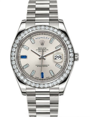 218349 silver diamond dial saphir Rolex Day-Date II Archive