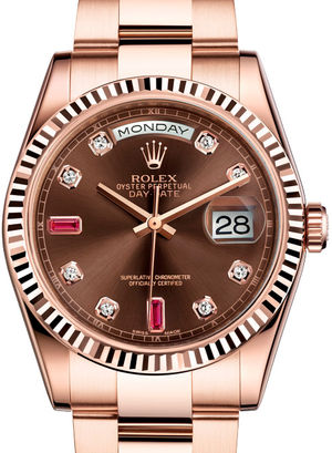 118235F Chocolate set with diamonds and rubies Rolex Day-Date 36