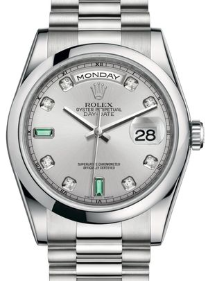 Rolex Day-Date 36 118206 Rhodium set with diamonds and emeralds