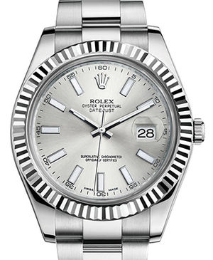 Rolex Datejust 41 116334 silver dial index