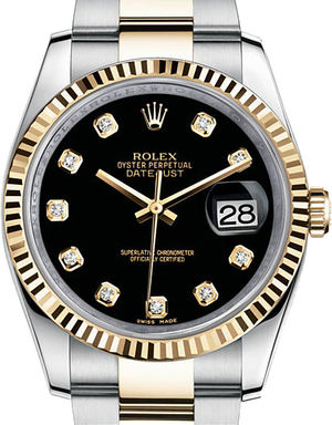 Rolex Datejust 36 116233 Black set with diamonds Oyster Bracelet