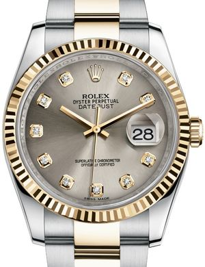 116233 Steel set with diamonds Oyster Rolex Datejust 36