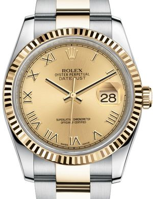 Rolex Datejust 36 116233 Champagne Roman numerals Oyster