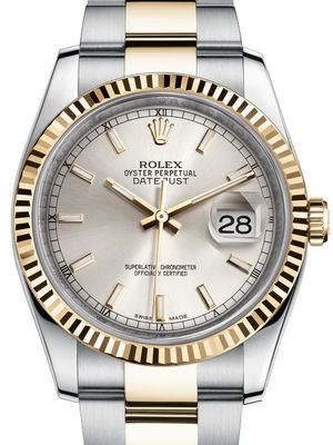 116233 silver index dial Oyster Rolex Datejust 36