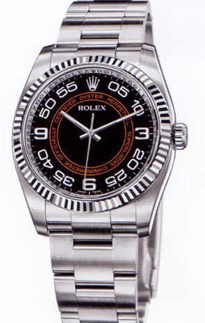 116034 black and orange dial Arabic  Rolex Oyster Perpetual