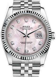 116234 Pink mother-of-pearl diamonds Jubilee Brace Rolex Datejust 36