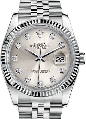 Rolex Datejust 36 116234 Silver set with diamonds Jubilee Bracelet