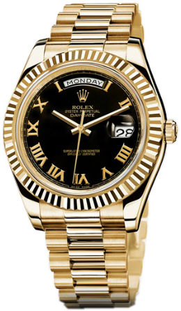 218238  black dial Roman numerals Rolex Day-Date II Archive