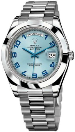 Rolex Day-Date II Archive 218206 ice blue dial  blue Arabic numerals