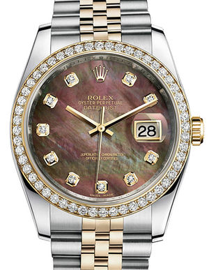 Rolex Datejust 36 116243 dark mother of pearl diamond dial Jublilee
