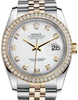 116243 White set with diamonds JB Rolex Datejust 36