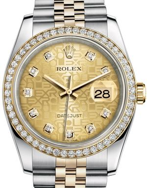 Rolex Datejust 36 116243 Champagne Jubilee design set with diamonds