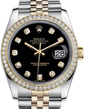 Rolex Datejust 36 116243 black diamond dial Jublilee
