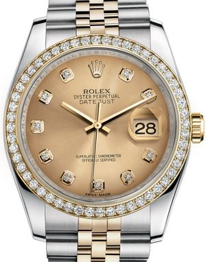 116243 Champagne set with diamonds Rolex Datejust 36