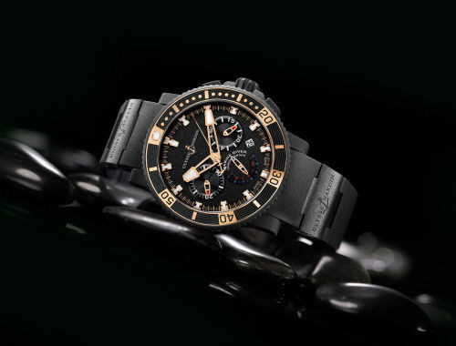 353-90-3C Ulysse Nardin часы Black Sea Chronograph