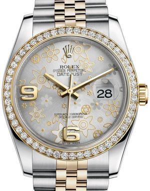 Rolex Datejust 36 116243 Silver floral motif