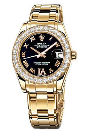 Rolex Pearlmaster 81298 black dial diamond IV dial