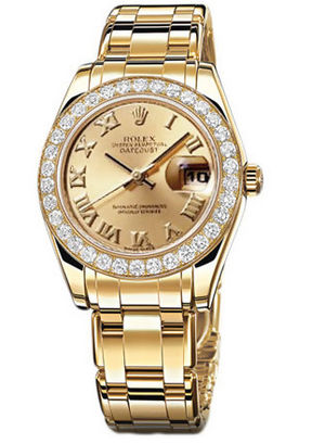 81298 champagne Roman dial Rolex Pearlmaster