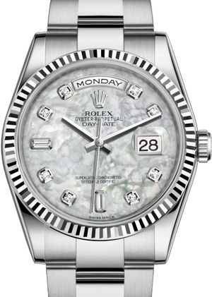 118239 white mother-of-pearl diamonds dial Oyster Rolex Day-Date 36